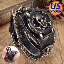 Fashion Punk Rock Retro Chain Skull Leather Watches Wrist Bracelet Mother's Day