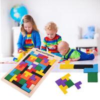 Wooden Tangram Brain Teaser Puzzle Tetris Game Preschool Children Play Wood L4