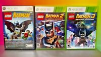 LEGO Batman 1 2 3 Trilogy Super Heroes Gotham  - Xbox 360 3 Game Bundle Lot