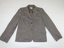Ann Taylor Loft Women's 2 Button Blazer Jacket Size 14 Gray Wool Striped Coat