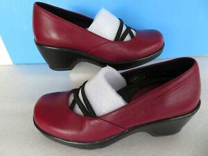EUC DANSKO Burgundy Leather Clogs Elastic Strap Mary Jane Shoe Wedge Heel Sz 37