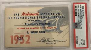 1952 NAPBL Hank Aaron PSA Ticket Pass Age 18/9HR Eau Claire/Boston Braves Minors