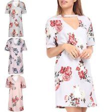 V-Neck Floral T-Shirts Dresses for Women