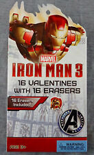 Iron Man 3 - 16 VALENTINES WITH 16 ERASERS ~ Marvel  / Paper Magic ~ NEW