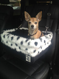 """Small Black Dog Car Booster Seat (""""Dalmation"""" black lining) Dogs Out Doing"""