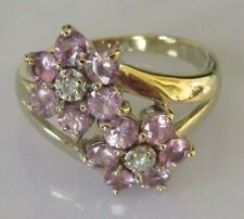 Secondhand 9ct Yellow Gold Pink Sapphire Diamond Flower Cluster Ring Size N