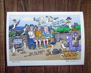 Beach Life 3 - Print by Artist Mark Thompson- A4 Giclee Print - Seagulls Old Men