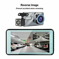 4'' 1080P Dual Lens Car DVR Dash Cam Video Recorder Rear Came and LCD Front B6O8