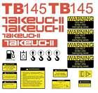 TB145 Decals Takeuchi TB145 Stickers Mini Midi Excavator Repro Decal Set Kit