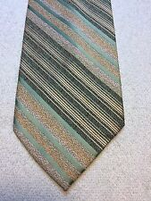 Vintage Wembley Mens Tie 4 X 55 Green And Gold Striped
