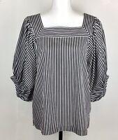 Ann Taylor Loft Womens Black White Striped Square Neck 3/4 Balloon Sleeve Top