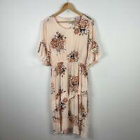 Gingham & Heels Womens Dress 16 Plus Beige Floral Short Sleeve Elastic Waist