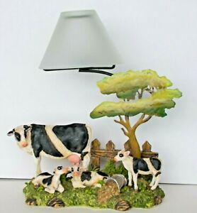 Cow/Farm/Rustic Country Tea Light Candle Holder Resin Base w/Glass Shade  Great