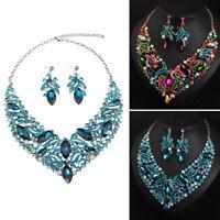 Crystal Rhinestones Necklace Earring Jewelry Set Women Bridal Wedding Party Gift