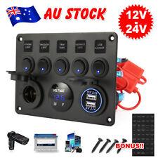 12V 24V 5 Gang ON-OFF Toggle Rocker Switch Panel Dual USB Charger Socket Boat
