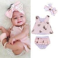 3PCS Newborn Infant Kids Baby Girls Outfits Clothes T-shirt Tops Dress+Pants Set