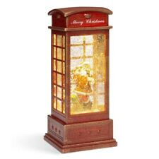 Pre-Lit Phonebooth Lantern ChristmasSnow Globe Santa Led Holiday Home Decor