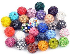 Set of 6 Paved Glass Crystal Rhinestone Disco Ball Beads 10mm Mixed