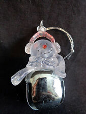 "Snowman Ornament 2.5"" Clear Plastic Top with Silver Bell Christmas"