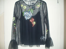 M&S Floral Embroidered Mesh Long Flared Sleeved Top-Size 14 BNWT