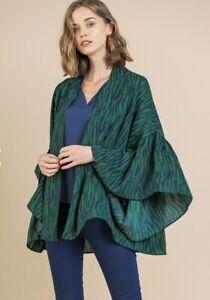 Umgee Animal Print Bell Sleeve Open Front Kimono Green
