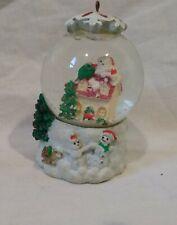 "Small Christmas/Holiday Snow Globe Tree Ornament-Santa/Snowmen/Sled/White-3"""