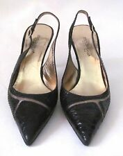 Dolce & Gabbana Black Crocodile & Lizard Slingback Heels, Sz. 37.5 Made In ITALY