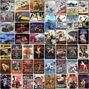 Vintage Metal Tin Signs Poster Auto Garage Plaques Bar Man Cave Home Wall Decor