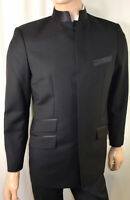 40R Mandarin Nehru Collar Tuxedo Men - Formal Suit 40 R Black Custom Made Tux