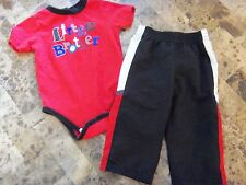 baby boys 2 PIECE LITTLE BROTHER OUTFIT snap shirt pants RED BLACK 18 months
