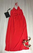 Forever 21 Red Maxi Dress Size L Front Slits Cowl Neckline Halterneck Sheer