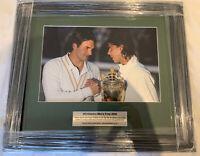 Roger Federer & Rafael Nadal Framed Photo Print Wimbledon 2008 with COA