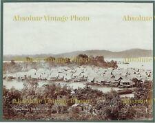 OLD ALBUMEN PHOTOGRAPH MALAY VILLAGE PULO BRANI SINGAPORE ANTIQUE C.1880