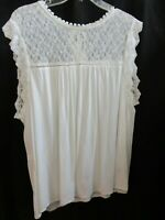 Pretty Lace Tank Sleeveless Top Ivory White Blouse Meaures Like XL Tie At Neck