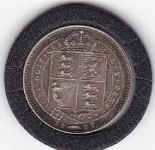 Sharp  1887   Queen  Victoria  Sterling  Silver  Shilling  British Coin