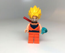 Custom Print Lego Super Sayan Goku Minifigure with power pole staff & crystal