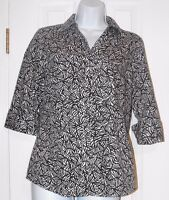 CHICO'S Black and White 3/4 Sleeve Blouse Top Button Front Size 0 (4-6) EUC