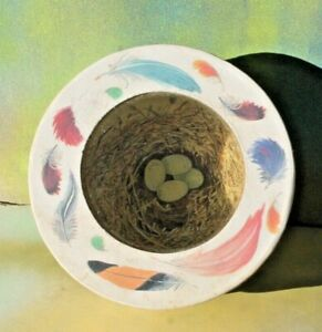 "Marcel Schurman Round Trinket Box: Feathers Eggs Nest Butterflies, 3.5"" diameter"