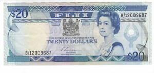 FIJI $20 Dollars VF/XF Banknote (1988) P-88 Siwatibau Signature BWC Prefix B/12