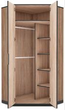 Delta Corner Wardrobe Closet Cupboard Oak effect with Slate Grey Corner Robe F04