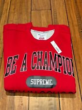 SUPREME X CHAMPION STAY IN SCHOOL CREWNECK RED EXTRA LARGE XL SS18 NEW IN HAND!