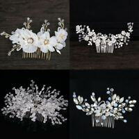 Crystal Rhinestone Flower Wedding Bridal Pearl Hair Comb Hairpin Clip Jewelry