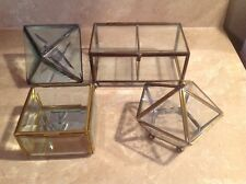Vintage 4 Mirrored Glass Brass Jewelry Trinket Case Curio Box Keepsake Art
