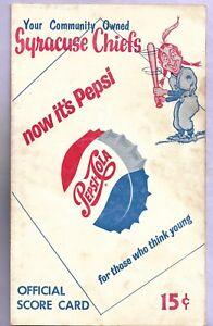 1961 Syracuse Chiefs vs Buffalo Bisons scored program Dotterer Cuellar Wine