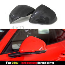 For Ford Mustang Carbon Fiber Mirror Cover Stick On Euro Model 2014 2015 2016 +
