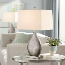 Modern Table Lamps Set of 2 Silver Metal Teardrop for...