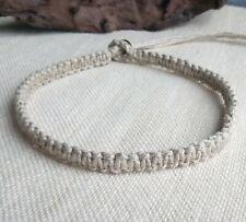 Plain Organic Hemp Choker Necklace w/ Black Glass Bubble Bead Clasp Men's Unisex