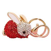 Rabbit Keychain Rhinestone Crystal Keyring Key Ring Chain Bag Charm Pendant I0V0