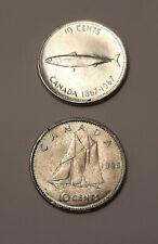 1967 Canada 10 Cents(80% Silver) & 1968 Canada 10 Cents (50 % Silver) Coins