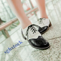 Vintage Womens Shoes Lace Up Brogues Wing Tip Girls Oxford Low Block Heels W409